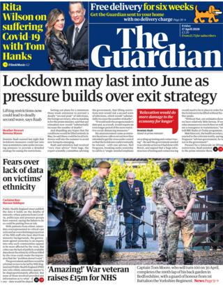 Guardian front page, 17/4/20