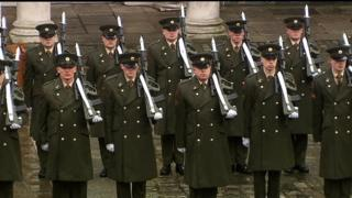Irish soldiers at a state centenary commemoration of the 1916 Easter Rising