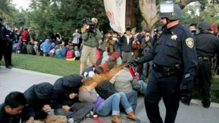 Students at UC Davis are sprayed with pepper spray