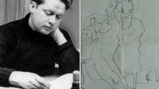 Dylan Thomas and a copy of the drawing for sale