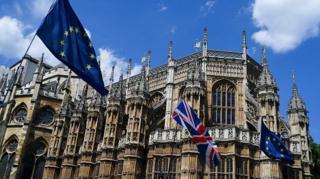 영국 의회 앞, 유럽연합과 영국 국기가 휘날리고 있다