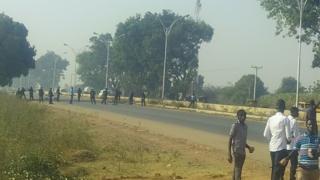 Nigerian police block the Kano-Zaria road