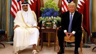 دیدار دونالد ترامپ با امیر قطر در جریان نشست عربستان سعودی