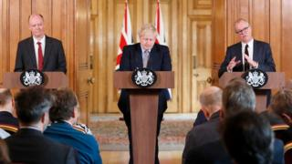 The prime minister will host Monday's press conference with UK chief medical adviser, Prof Chris Whitty (L) and and Sir Patrick Vallance (R), the UK's chief scientific adviser