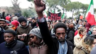 anti-racism rally in Macerata