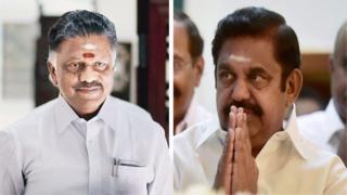 तमिलनाडु के मुख्यमंत्री पलनीसामी और उपमुख्यमंत्री पनीरसेल्वम (बाएं)