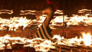 Viking ship in flames
