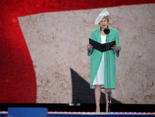 Mrs May on stage