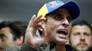 Venezuelan opposition leader and governor of Miranda state Henrique Capriles at a news conference in Caracas (06/04/2017)