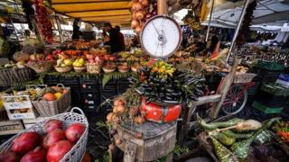 Fruit and vegetables on a stall at the Campo di Fiori food market in central Rome