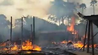 Burning village in Cameroon
