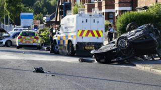 Scene of the crash on the Crumlin Road