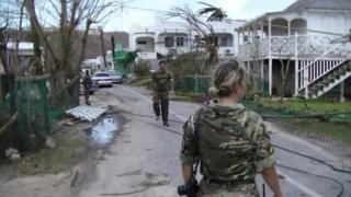 British disaster relief troops in Anguilla