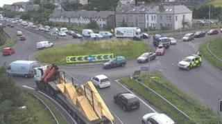 A55 closed after car overturns near Abergwyngregyn