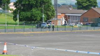 Police at Killowen Primary School in Lisburn