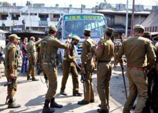 Police at the site of the blast in Jammu city on 7 March 2019.