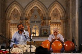 TM Krishna singing in a church
