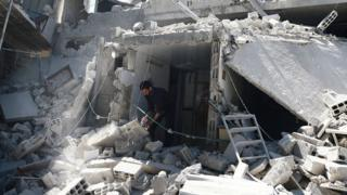 Rubble after attack in Syria