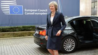 British Prime Minister Theresa May arrives at the Brussels European Union summit