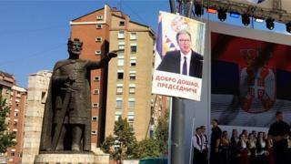 """Билборди """"добродошао председниче"""" којима су Срби са севера Косова дочекали председника Вучића у септембру 2018. године"""
