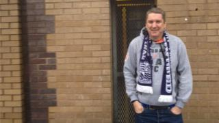 Southend United fan Andrew Urry outside Bradford City's ground