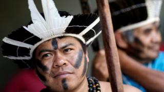 Brazil's indigenous people protest against the recommendations of a congressional commission in the capital Brasilia. Photo: 16 May 2017