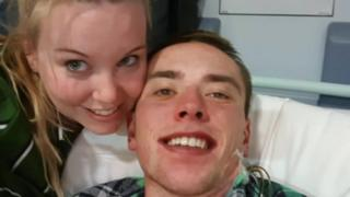 Aaron Green (right) and his fiancé Julie Payne (left)