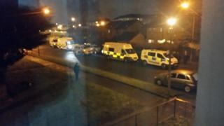 Police vans in Govan