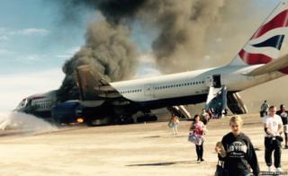 British Airways flight on fire