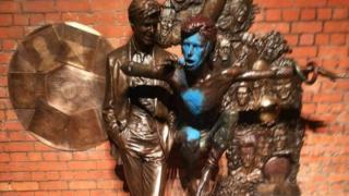 Vandalised David Bowie statue