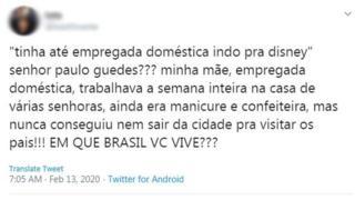 """""""Em que Brasil você vive?"""", pergunta filha de empregada doméstica"""