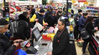 Busy tills at a UK supermarket