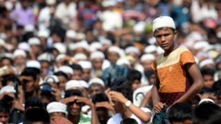 Rohingya refugees attend a ceremony organised to remember the second anniversary of a military crackdown that prompted a massive exodus of people from Myanmar to Bangladesh, at the Kutupalong refugee camp in Ukhia on August 25, 2019.