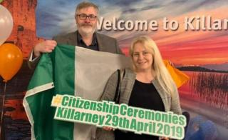 Laurie Kearon and her Irish husband Stephen Kearon at the citizenship ceremony last month