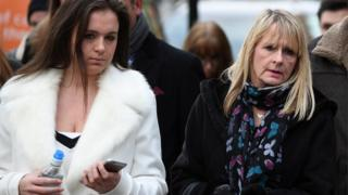 """Sharon Crossley (R) arrives to attend the inquest into the death of her son Jack Crossley, at Poplar Coroner""""s Court o"""