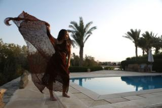 Egyptian actress Passant Shawky pose during a photo shoot at the El Gouna film festival on the Red Sea in Egypt on September 25, 2018.