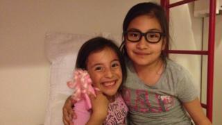 Claudia's children Arianna and Esmerelda