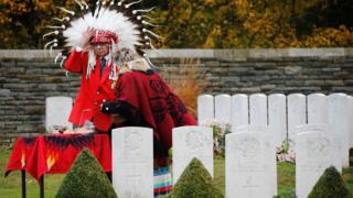 Roy Louis, a member of the Samson Cree Nation, attends a ceremony at the Canadian National Memorial at Vimy cemetery, 10 November 2018