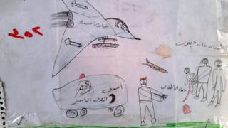 Un dibujo hecho por un niño refugiado sirio muestra a un avión de guerra, una ambulancia y misiles en dirección a dos personas que cargan a un niño herido.