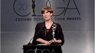 Costume designer Jane Petrie accepts the Excellence in Period Television award for 'The Crown' onstage during the Costume Designers Guild Awards at The Beverly Hilton Hotel on February 20, 2018