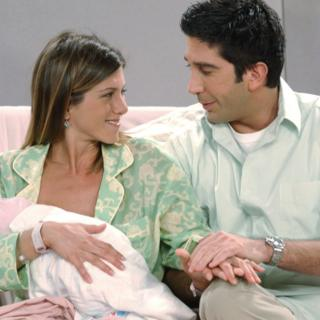 Rachel, Ross and baby Emma in Friends