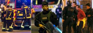 Composite of images from night of attack