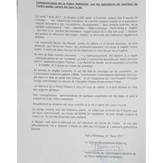 Communiqué de la police congolaise