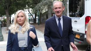 Lawyer David Boies arrives with his client Virginia Giuffre