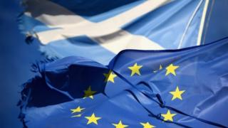 Saltire and European Union flag and