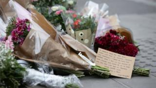 Floral tributes left on Borough High Street, London, near the scene of last night's attack