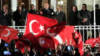 A view of the Turkish consulate after Foreign Minister Mevlut Cavusoglu spoke to supporters of the upcoming referendum in Turkey on 7 March 2017 in Hamburg, Germany
