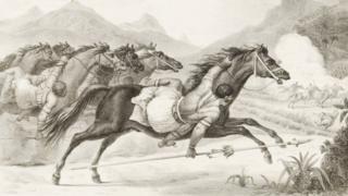 Cavaleiros Kadiwéus em ação, em pintura de Debret