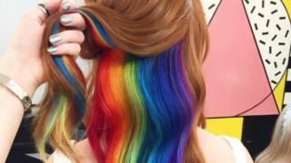 Photo of Not Another Salon's hidden rainbow hair design.