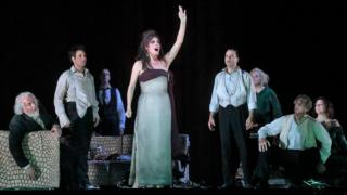 Audrey Luna (C) on stage with fellow cast members in The Exterminating Angel at New York's Metropolitan Opera